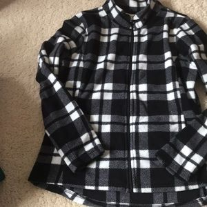 Plaid fleece zip up jacket